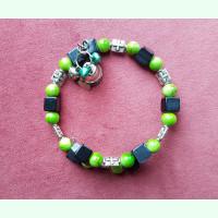 Large bracelet, rebel green and black