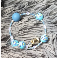Belle Blue Sunflower Silicone Bead bracelet
