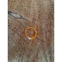 Orange Beaded Fiddle Ring