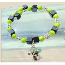 Large bracelet, rebel green and black